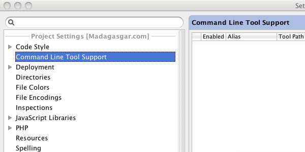 Screenshot showing PhpStorm - Settings - Command Line Tool Support