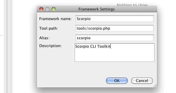 Screenshot showing PhpStorm - Settings - Command Line - Framework Settings